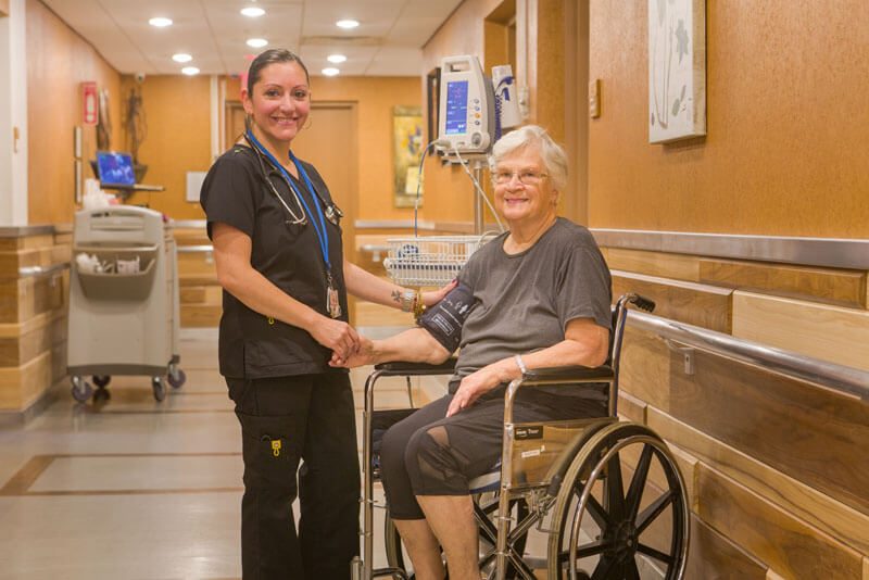 Patient and nurse on Long Island
